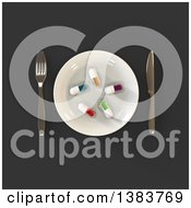 Clipart Of A 3d Plate With Diet Pills And Silverware On A Dark Gray Background Royalty Free Illustration by Julos