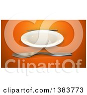 Clipart Of A 3d Plate And Silverware On An Orange Background Royalty Free Illustration
