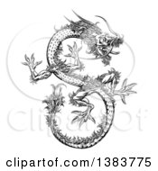 Clipart Of A Black And White Chinese Dragon Flying Royalty Free Vector Illustration by AtStockIllustration