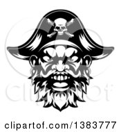 Black And White Pirate Mascot Face With An Eye Patch And Captain Hat