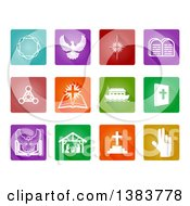 White Christian Icons On Colorful Square Tiles
