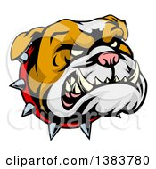 Clipart Of A Snarling Bulldog Mascot Face With A Spiked Collar Royalty Free Vector Illustration