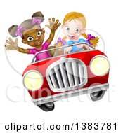 Clipart Of A Happy Blond White Girl Driving A Red Convertible Car With A Black Girl In The Passenger Seat Royalty Free Vector Illustration