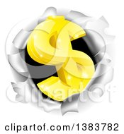 Clipart Of A 3d Gold Dollar Currency Symbol Breaking Through A Hole Royalty Free Vector Illustration
