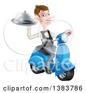 Clipart Of A White Male Waiter With A Curling Mustache Holding A Platter On A Delivery Scooter Royalty Free Vector Illustration