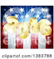 Clipart Of A 3d Golden 2016 Burst Over An American Flag And Fireworks Royalty Free Vector Illustration by AtStockIllustration