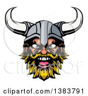 Clipart Of A Cartoon Yelling Blond Male Viking Warrior Face Royalty Free Vector Illustration by AtStockIllustration