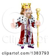Clipart Of A Happy Brunette White King Giving A Thumb Up And Holding A Gold Sceptre Royalty Free Vector Illustration