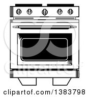 Clipart Of A Black And White Vintage Kitchen Range Oven Royalty Free Vector Illustration