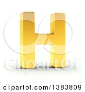 Clipart Of A 3d Golden Capital Letter H On A Shaded White Background With Clipping Path Royalty Free Illustration by stockillustrations