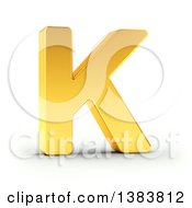Clipart Of A 3d Golden Capital Letter K On A Shaded White Background With Clipping Path Royalty Free Illustration