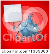 Clipart Of A 3d Blue Germ Virus Monster On A Red Background Royalty Free Illustration
