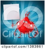 Clipart Of A 3d Red Germ Virus On A Blue Background Royalty Free Illustration
