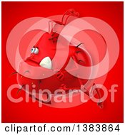 Clipart Of A 3d Red Germ Virus Monster On A Red Background Royalty Free Illustration