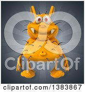 Clipart Of A 3d Casual Yellow Germ On A Gray Background Royalty Free Illustration