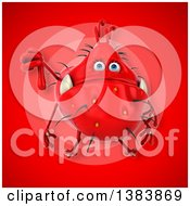 Clipart Of A 3d Red Germ Virus On A Red Background Royalty Free Illustration