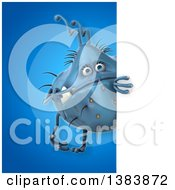 Clipart Of A 3d Blue Germ Virus On A Blue Background Royalty Free Illustration