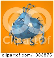 Clipart Of A 3d Blue Germ Virus On An Orange Background Royalty Free Illustration