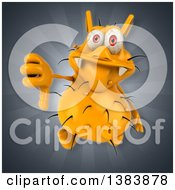 Clipart Of A 3d Yellow Germ Virus On A Gray Background Royalty Free Illustration