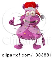 Clipart Of A 3d Purple Christmas Germ Virus Giving A Thumb Up On A White Background Royalty Free Illustration