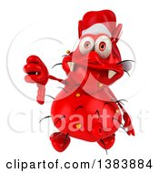 Clipart Of A 3d Red Christmas Germ Virus Giving A Thumb Down On A White Background Royalty Free Illustration