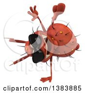 Clipart Of A 3d Red Germ Virus Cartwheeling On A White Background Royalty Free Illustration
