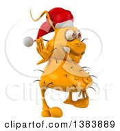 Clipart Of A 3d Yellow Christmas Germ Virus On A White Background Royalty Free Illustration by Julos