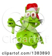 Clipart Of A 3d Green Christmas Germ Virus Giving A Thumb Down On A White Background Royalty Free Illustration