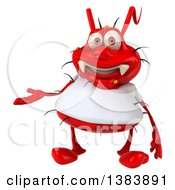 Clipart Of A 3d Red Germ Virus Wearing A White T Shirt On A White Background Royalty Free Illustration
