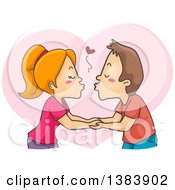 Clipart Of A Cartoon Red Haired White Woman And Brunette Man Kissing And Holding Hands Over A Heart Royalty Free Vector Illustration