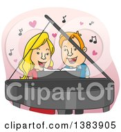 Clipart Of A Cartoon Blond White Woman And Red Haired Man Singing A Duet And Playing A Piano Royalty Free Vector Illustration