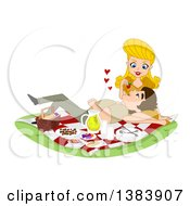 Clipart Of A Blond White Woman Feeding Her Man A Strawberry As He Rests In Her Lap On A Picnic Royalty Free Vector Illustration