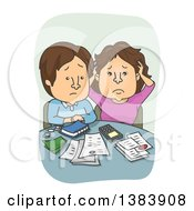 Cartoon Brunette White Couple Discussing Their Financial Problems