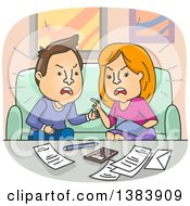 Cartoon Angry White Couple Fighting Over Financial Problems