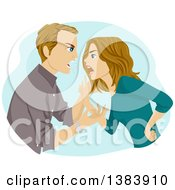 Clipart Of A Mad Dirty Blond White Couple Yelling And Arguing Royalty Free Vector Illustration