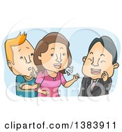 Clipart Of A Cartoon White Man Trying To Stop His Wife From Compulsive Chatting Royalty Free Vector Illustration by BNP Design Studio