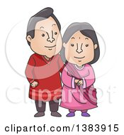 Clipart Of A Cartoon Happy Indian Couple Wearing A Traditional Kurta And Sareeh Royalty Free Vector Illustration