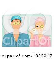Clipart Of A Caucasian Woman Holding A Cucumber And Peeking At Her Husband While Getting A Spa Treatment Royalty Free Vector Illustration by BNP Design Studio