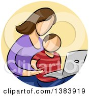 Clipart Of A Sketched Faceless Brunette White Mother And Son Using A Laptop Computer In A Circle Royalty Free Vector Illustration