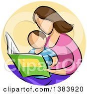 Clipart Of A Sketched Faceless Brunette White Mother And Son Reading A Book In A Circle Royalty Free Vector Illustration