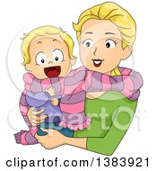 Clipart Of A Happy Blond White Mother And Son Sharing A Scarf Royalty Free Vector Illustration