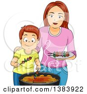 Clipart Of A Happy Brunette White Mother And Son Making Kebabs On A Barbeque Grill Royalty Free Vector Illustration