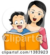 Clipart Of A Happy Mother And Son Reading A Book Together Royalty Free Vector Illustration