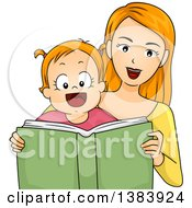 Clipart Of A Happy Strawberry Blond White Mother And Daughter Reading A Book Together Royalty Free Vector Illustration