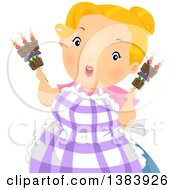 Clipart Of A Chubby Blond White Woman Holding Shish Kebab Sticks With Beef And Veggies Royalty Free Vector Illustration