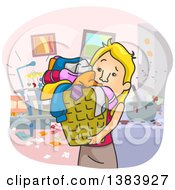 Cartoon Blond White Woman Cleaning Up A Messy House