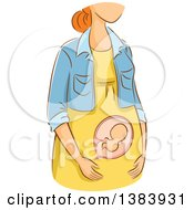 Poster, Art Print Of Sketched Red Haired White Woman In The First Trimester Of Pregnancy