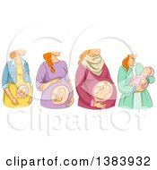 Clipart Of A Sketched Red Haired White Woman Shown In The Different Stages Of Pregnancy And After Birth Royalty Free Vector Illustration