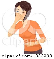 Poster, Art Print Of Sick Brunette White Woman Covering Her Mouth And Holding Her Belly About To Throw Up