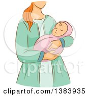Clipart Of A Sketched Red Haired White Woman Holding Her Newborn Baby Royalty Free Vector Illustration